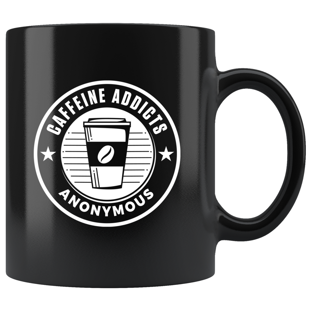 Caffeine Addicts Anonymous 11oz Black Coffee Lover Mug