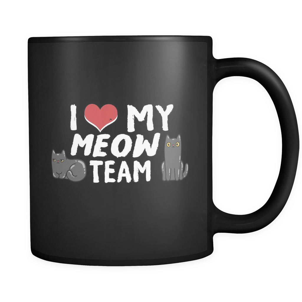 I Love My Meow Team Black Mug