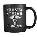 Nursing School Survivor Black Mug