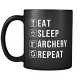 Eat Sleep Archery Repeat Black Mug