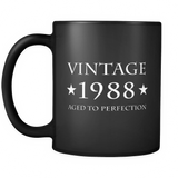 Vintage 1988 Aged to Perfection Black Mug