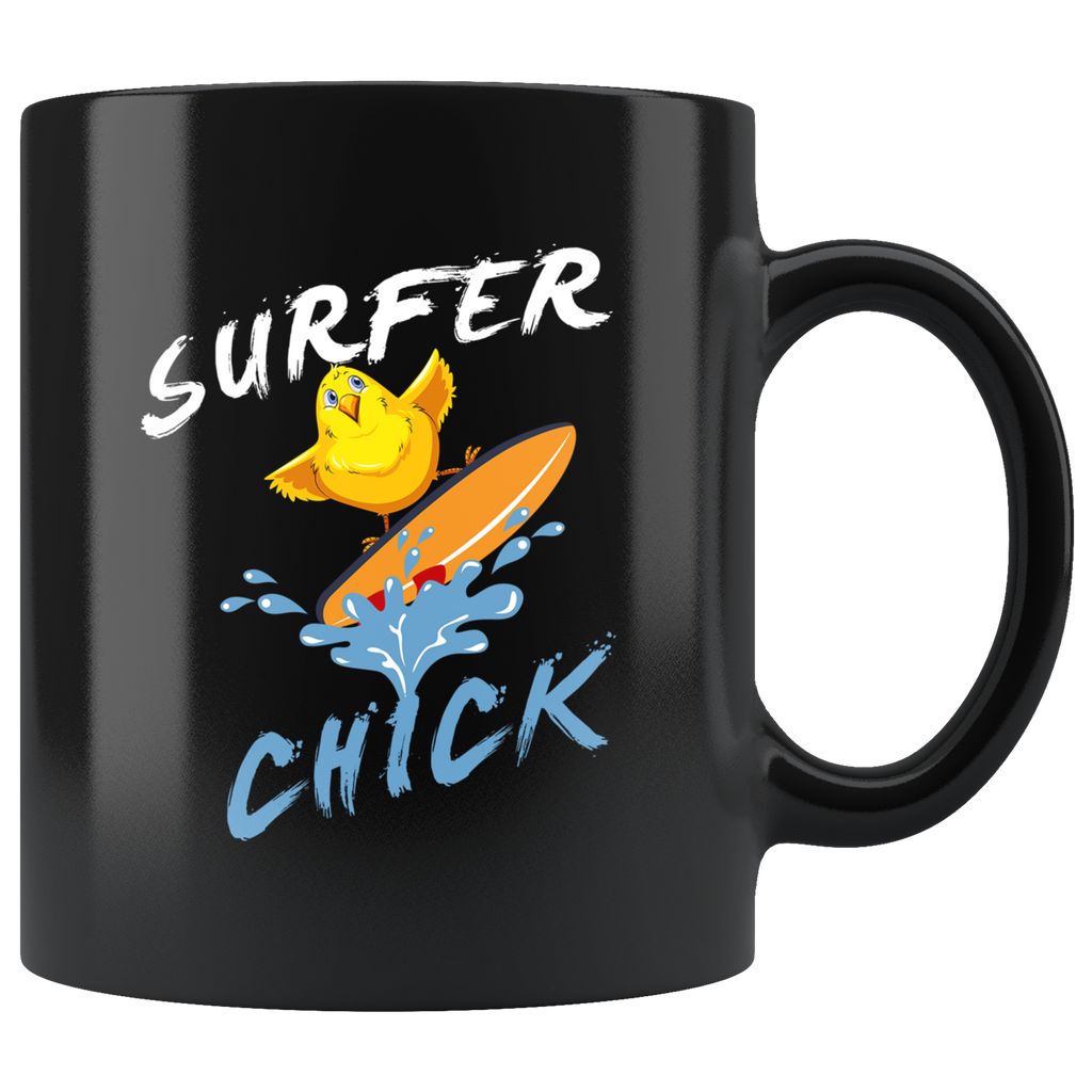 Surfer Chick 11oz Black Mug