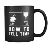 How To Tell Time AM PM Black Mug