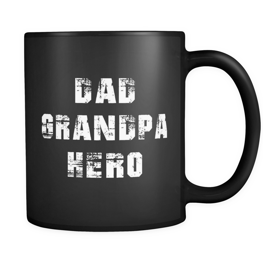 Dad Grandpa Hero Black Mug
