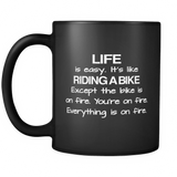 Life Is Easy Black Mug