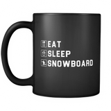 Eat Sleep Snowboard Black Mug