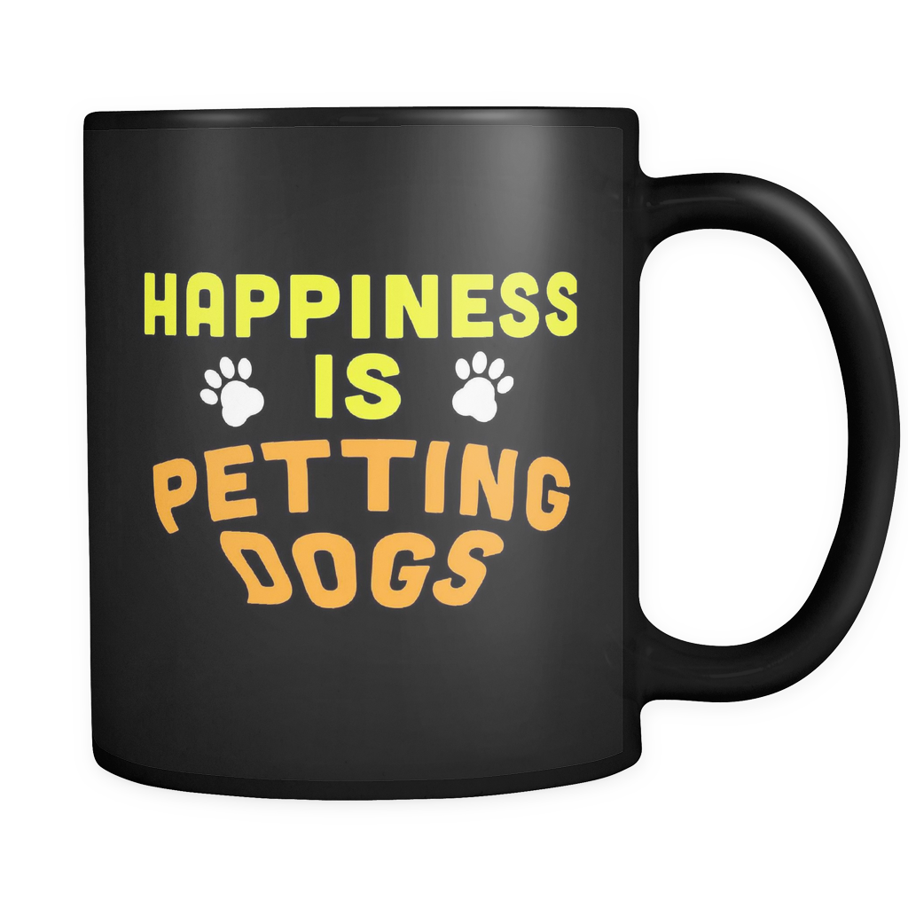 Happiness Is Petting Dogs Mug in Black