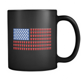Beer Pong American Flag (Vertical) Black Mug