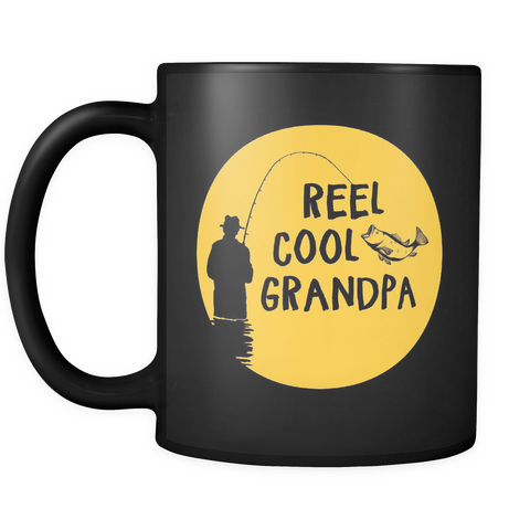 Reel Cool Grandpa Black Mug
