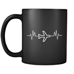 Airplane Pilot Heartbeat Mug in Black