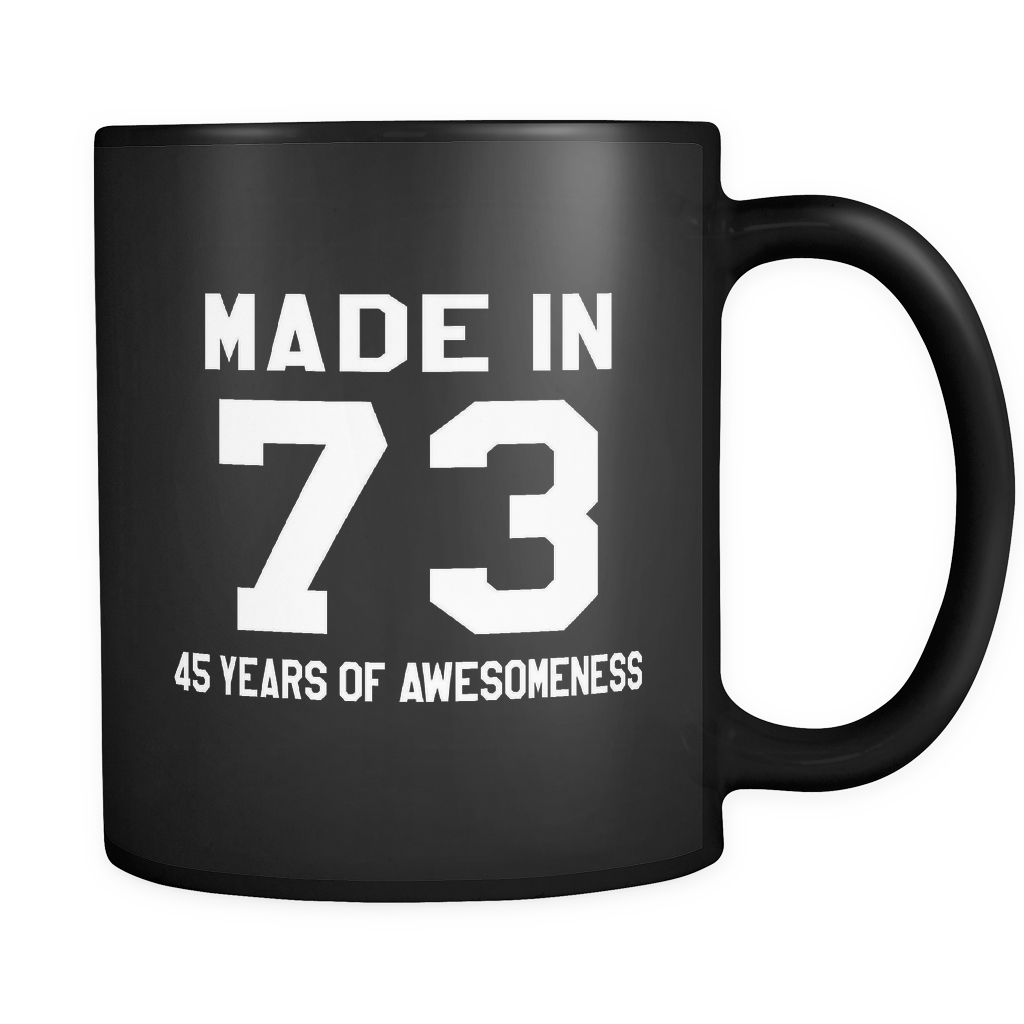 Made In 73 Black Mug