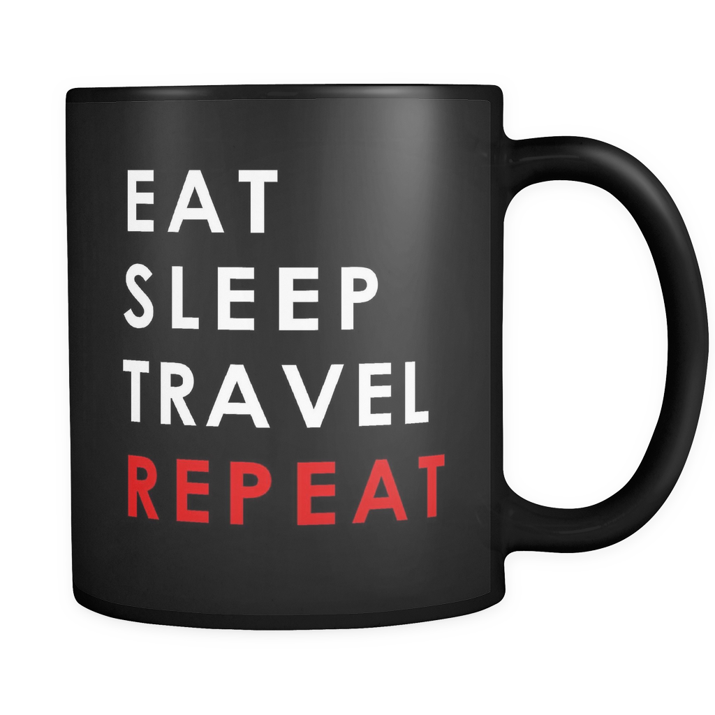 Eat Sleep Travel Repeat Black Mug