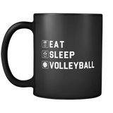 Eat Sleep Volleyball Black Mug