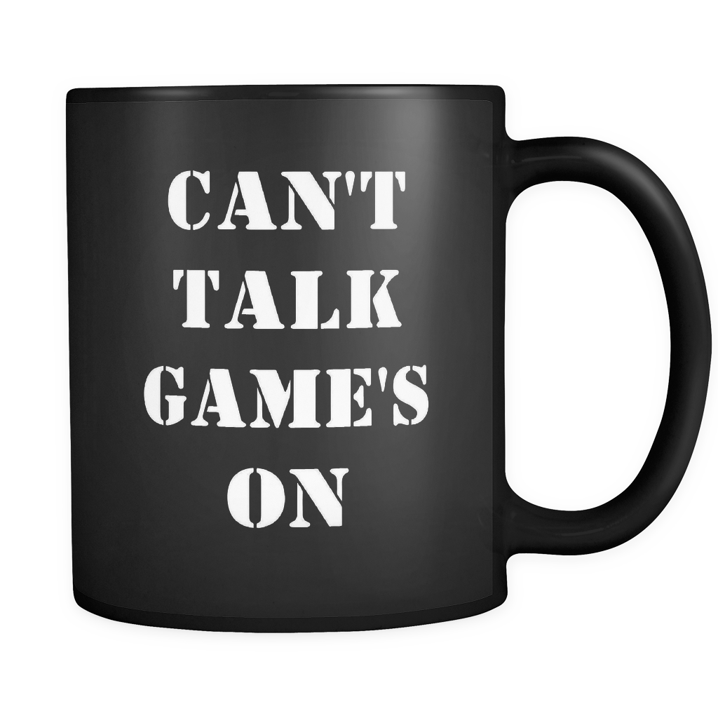 Can't Talk Games On Mug in Black