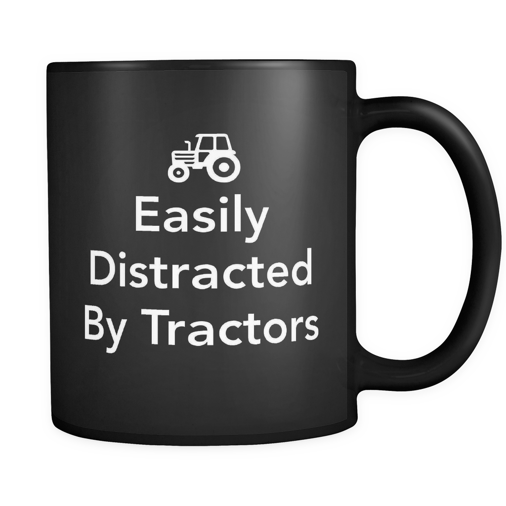 Easily Distracted By Tractors Black Mug