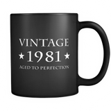 Vintage 1981 Aged to Perfection Black Mug