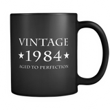 Vintage 1984 Aged to Perfection Black Mug