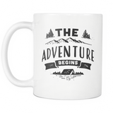 The Adventure Begins White Mug
