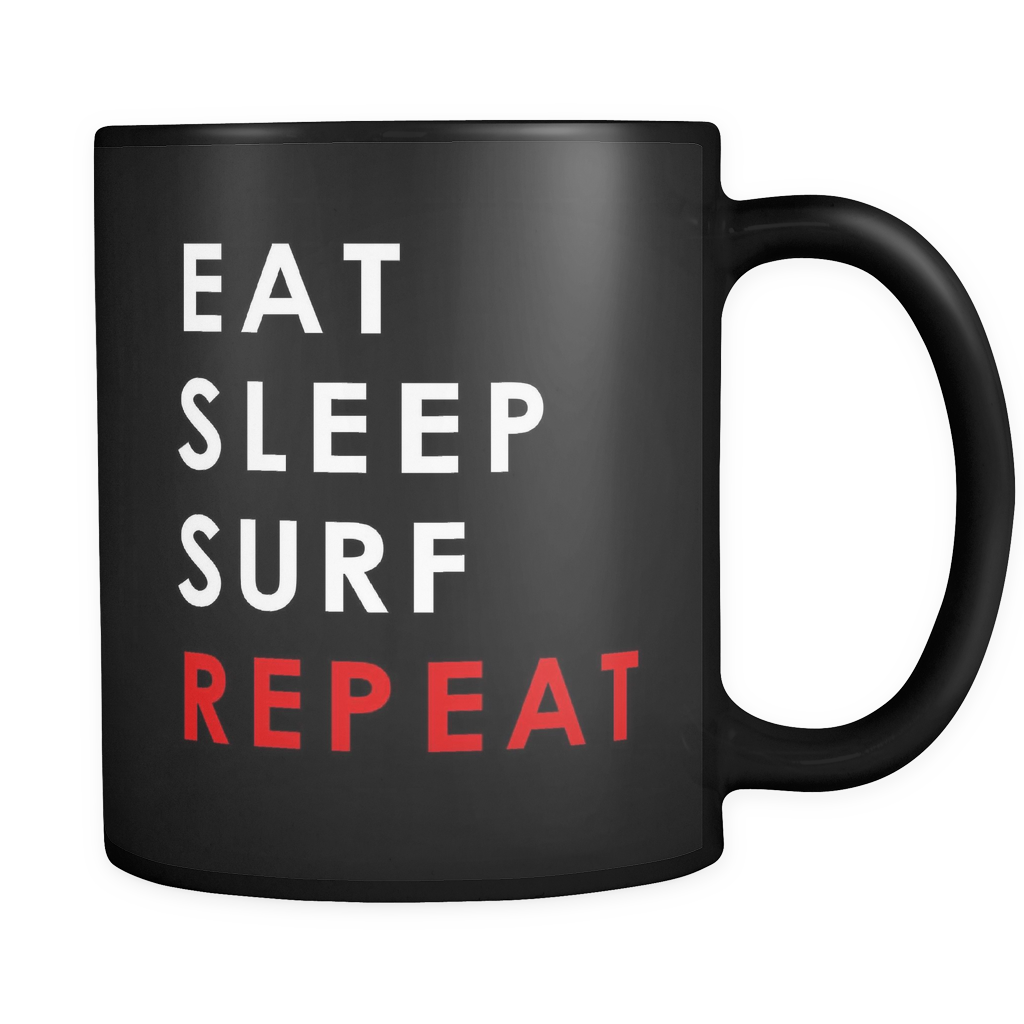Eat Sleep Surf Repeat Black Mug