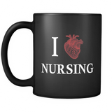 I Heart Nursing Black Mug - I Love Nursing Mug