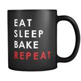 Eat Sleep Bake Repeat Black Mug