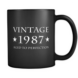 Vintage 1987 Aged to Perfection Black Mug