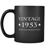 Vintage 1953 Aged to Perfection Black Mug