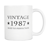 Vintage 1987 Aged To Perfection White Mug