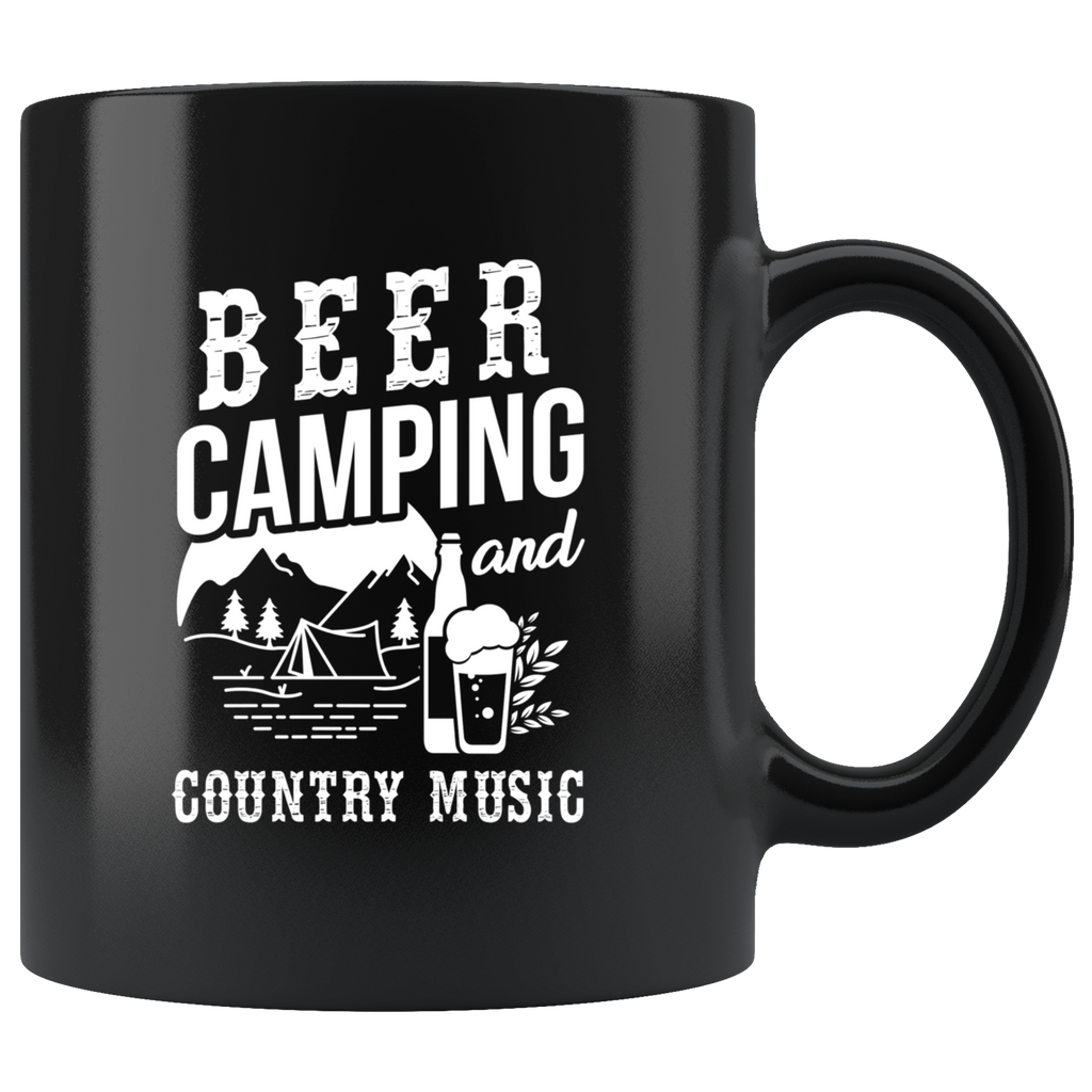 Beer Camping And Country Music 11oz Black Mug