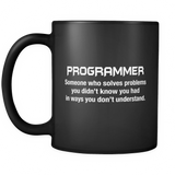 Funny Programmer Description Black Mug - Software Engineer Mug