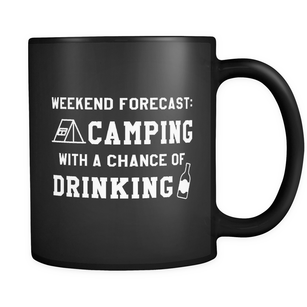 Weekend Forecast Camping Black Mug