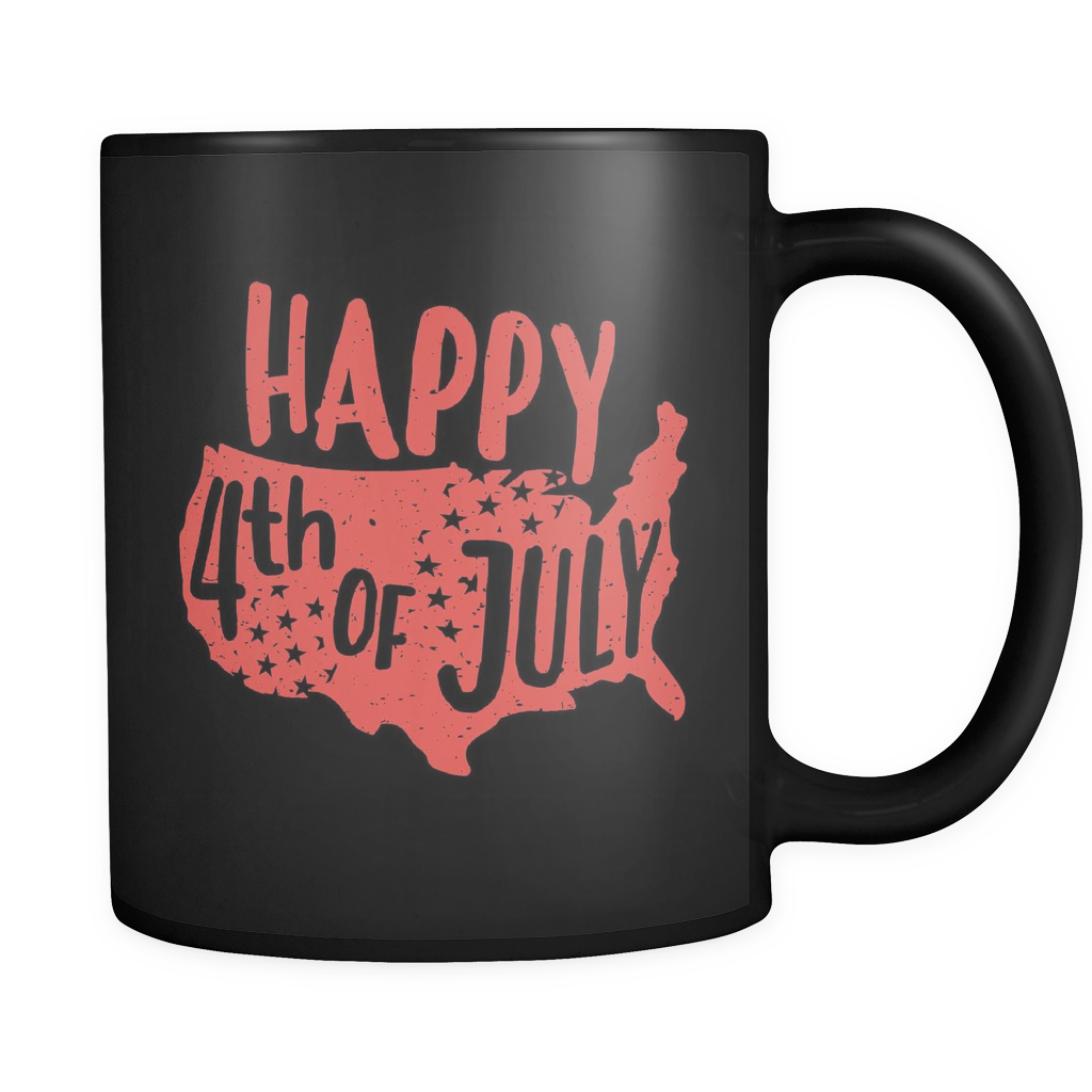 Happy 4th Of July Black Mug