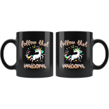 Follow That Unicorn 11oz Black Coffee Mug