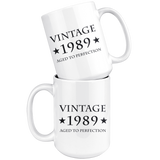 Vintage 1989 Aged to Perfection 15oz White Mug
