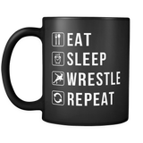 Eat Sleep Wrestle Repeat Mug