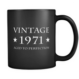 Vintage 1971 Aged to Perfection Black Mug