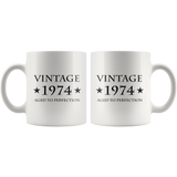 Vintage 1974 Aged To Perfection White Mug