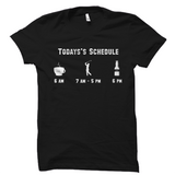 Todays Schedule Coffee Golfing Beer Funny Golfer Tee