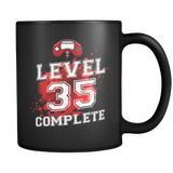 Level 35 Complete - 35th Birthday Mug in Black