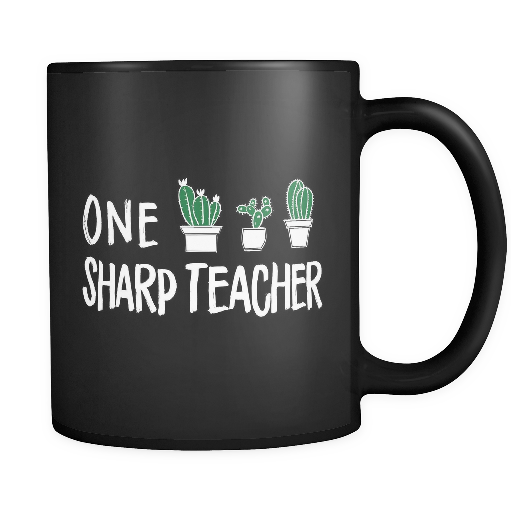 One Sharp Teacher Black Mug
