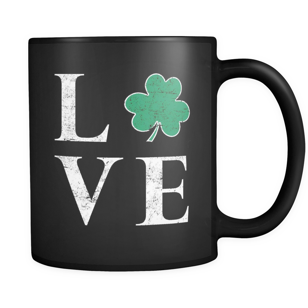 St Patricks Day Shamrock Love Mug in Black
