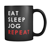Eat Sleep Jog Repeat Black Mug