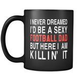 Football Dad Black Mug