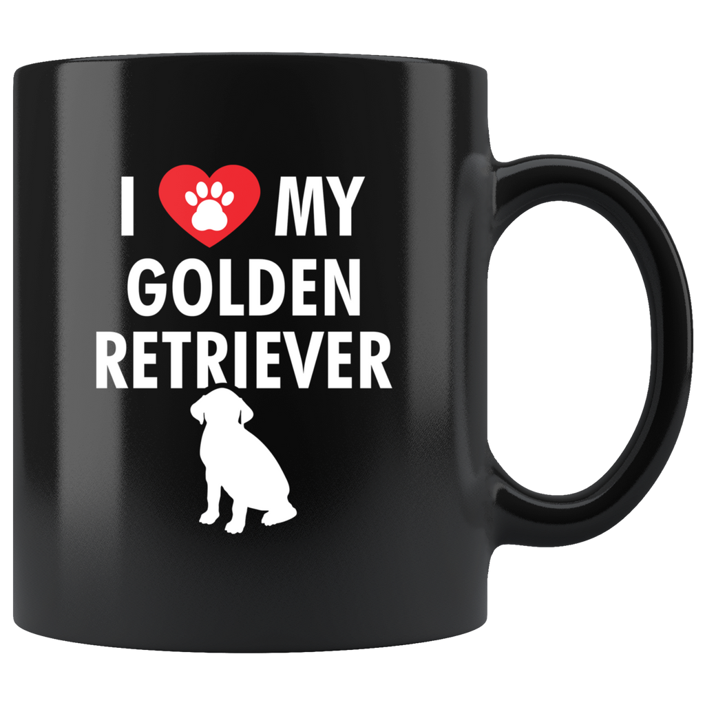 I Love My Golden Retriever 11oz Black Mug