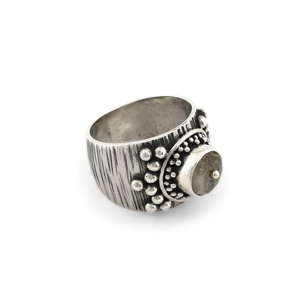 Ring Crystal Antique Dot Silve