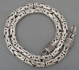 7mm ROUND BALI BYZANTINE 925 STERLING SOLID SILVER MENS NECKLACE KING CHAIN CLASSIC CLASP