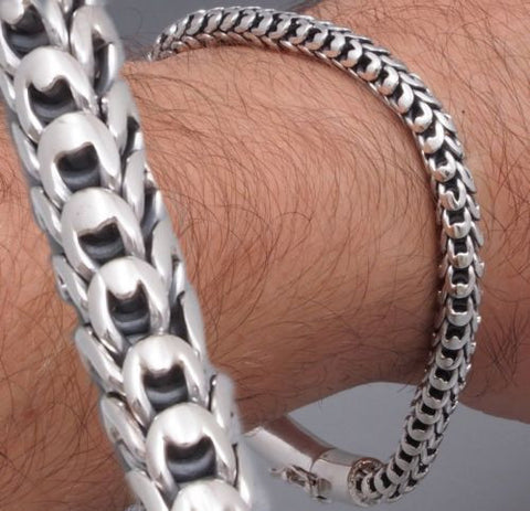 5mm dragon scale mens bracelet chain 925 sterling silver handmade
