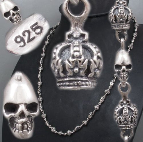 SKULL CROWN 925 STERLING SOLID SILVER MENS NECKLACE CHAIN