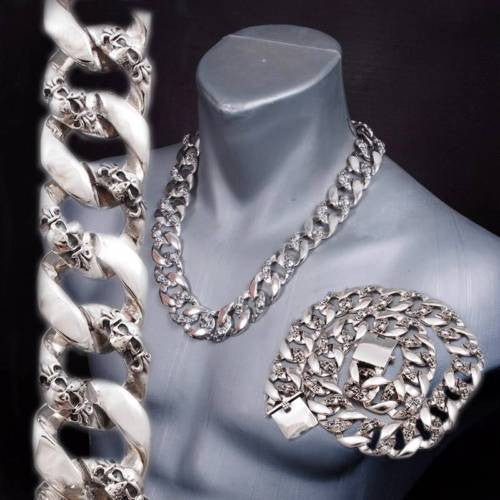 HEAVY CHUNKY BIKER CURB CUBAN LINKS SKULL 925 STERLING SILVER MENS NECKLACE