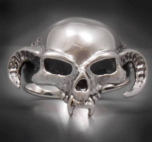 horn skull skeleton 925 sterling solid silver ring biker rocker
